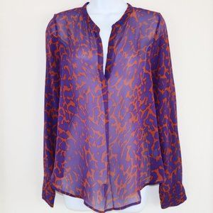 Rory Beca leopard Printed Silk Blouse M